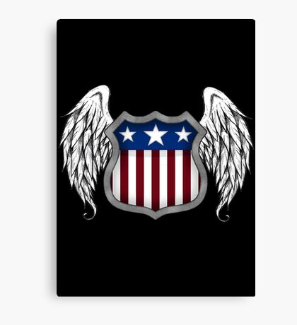 Winged American Shield (Black) Canvas Print