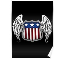 Winged American Shield (Black) Poster