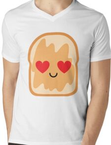 Bread with Peanut Butter Emoji Heart and Love Eye Mens V-Neck T-Shirt