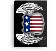 Winged American Crest (Black) Metal Print