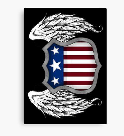 Winged American Crest (Black) Canvas Print