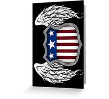 Winged American Crest (Black) Greeting Card