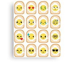 Bread with Egg Emoji Different Facial Expression Canvas Print