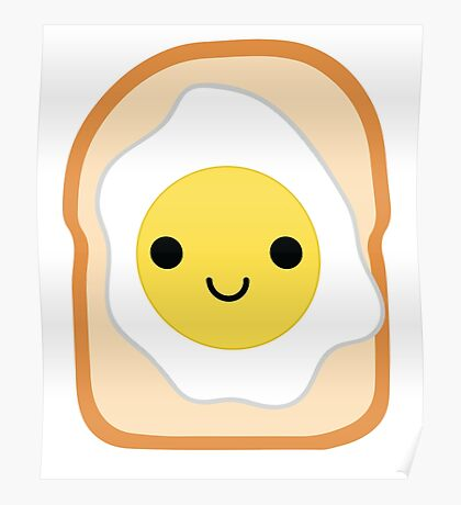 Bread with Egg Emoji Happy Smiling Face Poster