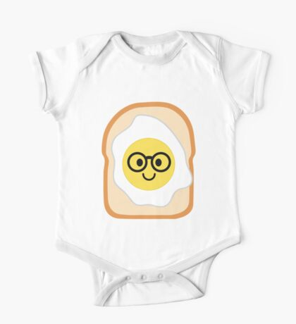 Bread with Egg Emoji Nerd Noob Glasses One Piece - Short Sleeve
