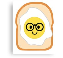Bread with Egg Emoji Nerd Noob Glasses Canvas Print