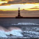 Roker pier and lighthouse sunrise by Avril Harris