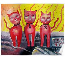 Three Red Cats Poster