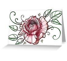 all seeing rose, eye in flower tattoo shirt Greeting Card