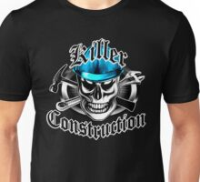 Construction Skull 4 with Crossed Tools Blue Unisex T-Shirt