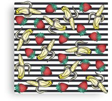 Cute Foodie Fruity Strawberry Bananas and Stripes Canvas Print