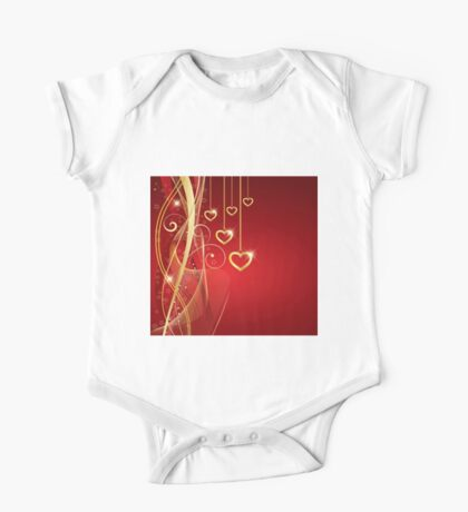 Valentine's Day Gold Hearts One Piece - Short Sleeve