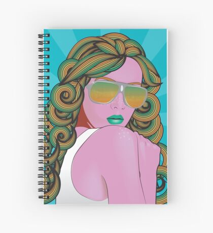 Psychedelic Girl-Teal Spiral Notebook