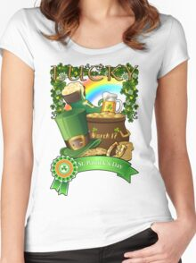 Lucky St. Patrick's Day Redbubble Funny T Shirts Women's Fitted Scoop T-Shirt