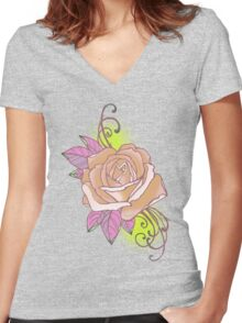 peach rose tattoo shirt, with yellow Women's Fitted V-Neck T-Shirt