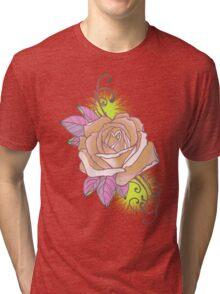 peach rose tattoo shirt, with yellow Tri-blend T-Shirt