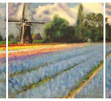 Spring Flower Fields Landscape Painting Triptych by C-Nwh