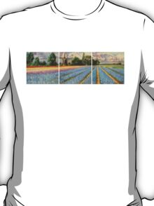 Spring Flower Fields Landscape Painting Triptych T-Shirt