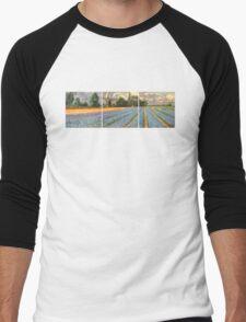 Spring Flower Fields Landscape Painting Triptych Men's Baseball ¾ T-Shirt