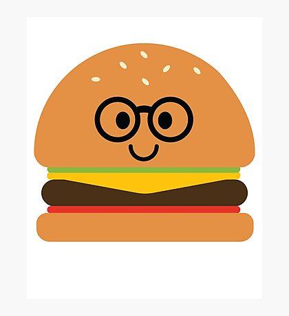Burger Emoji Nerd Noob Glasses Photographic Print