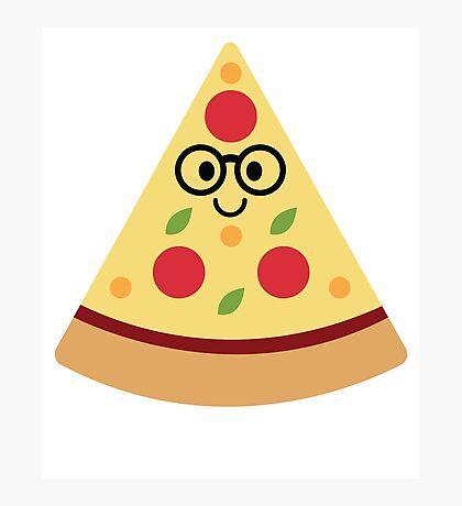 Pizza Emoji Nerd Noob Glasses Photographic Print