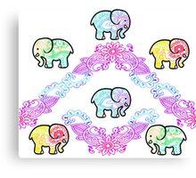 Tie Dye Cute Elephant Pack of 6 Canvas Print
