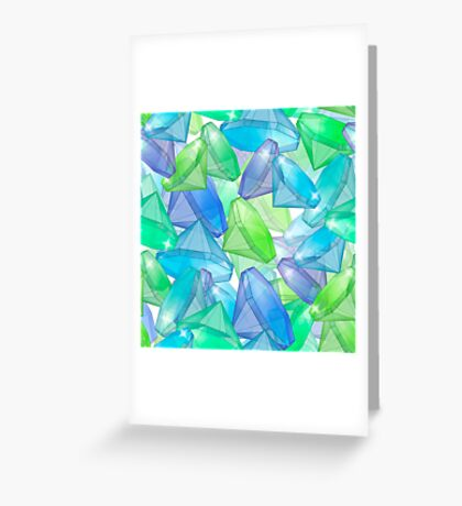 Placer precious stones, yellow , green , blue . Greeting Card