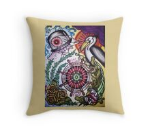hold fast sailor's wife with pelican tattoo flash Throw Pillow