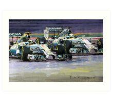 2014 F1 MERCEDES AMG PETRONAS  Lewis Hamilton vs Nico Rosberg Art Print