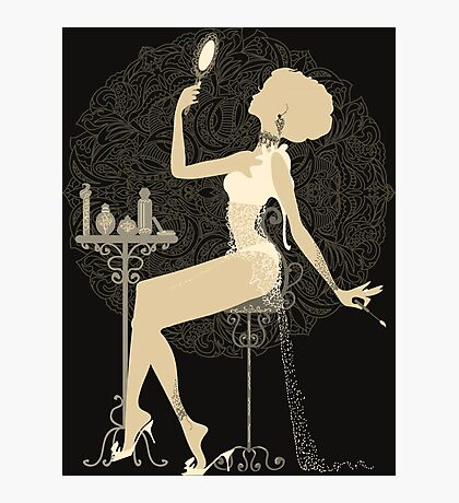 Gold chic elegant black vintage beautiful lady Photographic Print