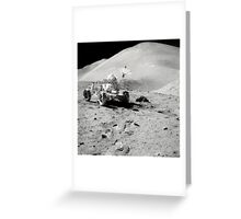 Apollo 15 astronaut works at the Lunar Roving Vehicle on the moon's surface. Greeting Card