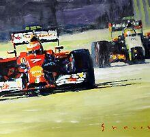 2014 Singapore GP Raikkonen Scuderia Ferrari F14 T Perez Sahara Force India F1 by Yuriy Shevchuk