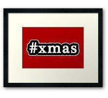 Xmas - Christmas - Hashtag - Black & White Framed Print