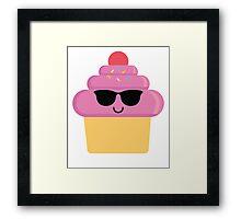 Cupcake Emoji Cool Sunglasses Framed Print