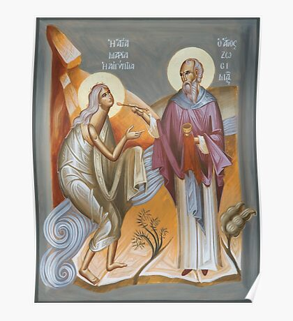 St Mary of Egypt and St Zosimas Poster