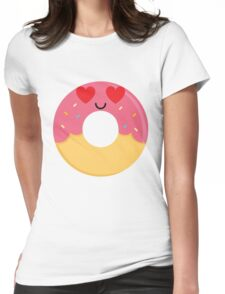 Donut Emoji Heart and Love Eye Womens Fitted T-Shirt