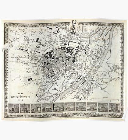 Plan of Munich - 1844 Poster