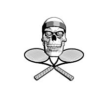 Tennis Skull and Rackets Photographic Print