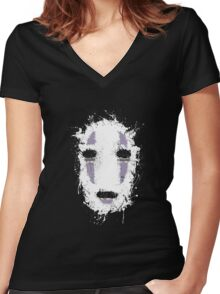 Ink No Face Women's Fitted V-Neck T-Shirt