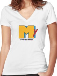 My Body. My Rules. (MTV Inspired) Women's Fitted V-Neck T-Shirt