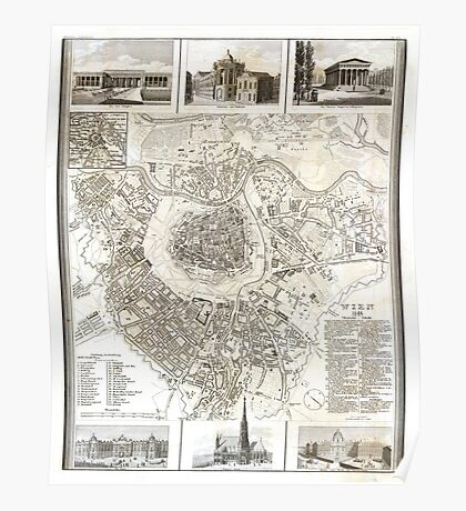 Plan of Vienna - 1844 Poster