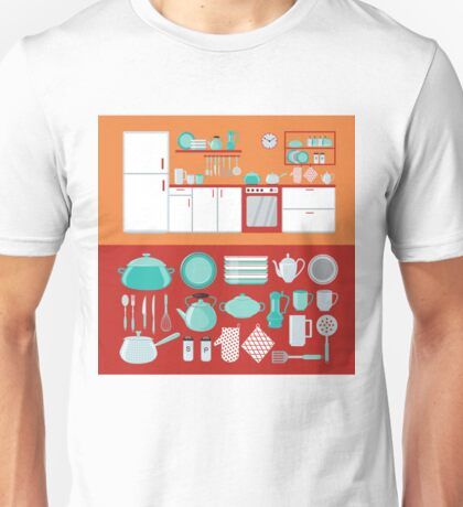 Kitchen Interior with Furniture and Set of Dishes and Cutlery Unisex T-Shirt