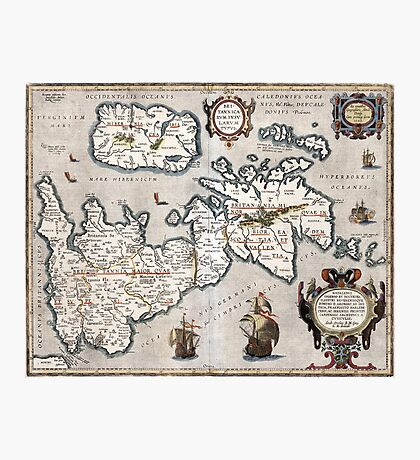 Map of The British Isles - Ortelius - 1595 Photographic Print