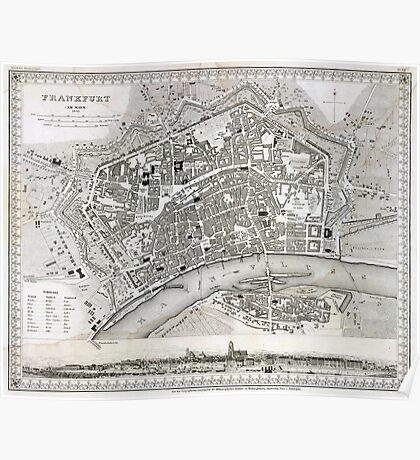 Plan of Frankfurt - 1845 Poster