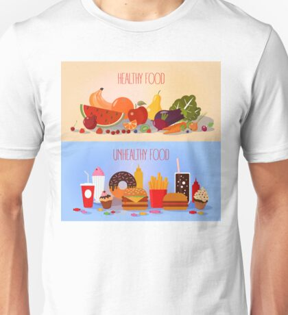 Healthy Food and Unhealthy Fast Food. Fruits and Vegetables or Fast Food and Sweets Unisex T-Shirt