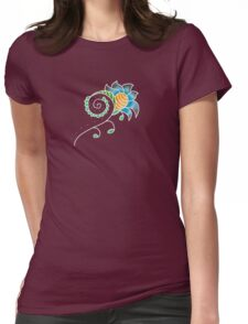 Indigo Honeycomb Flower | Floral Honey Abstract Print Womens Fitted T-Shirt