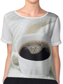 White cup with hot coffee wrapped in a white woolen scarf Chiffon Top