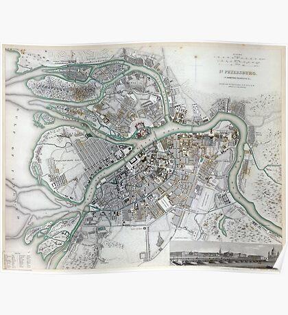 Plan of St Petersburg - Russia - 1834 Poster