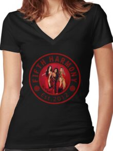 FIFTH HARMONY CIRCLE RED PHOTOSHOOT Women's Fitted V-Neck T-Shirt