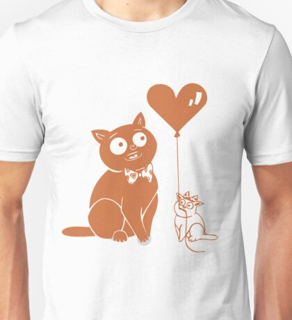 Valentine Cats with Heart Balloon Unisex T-Shirt